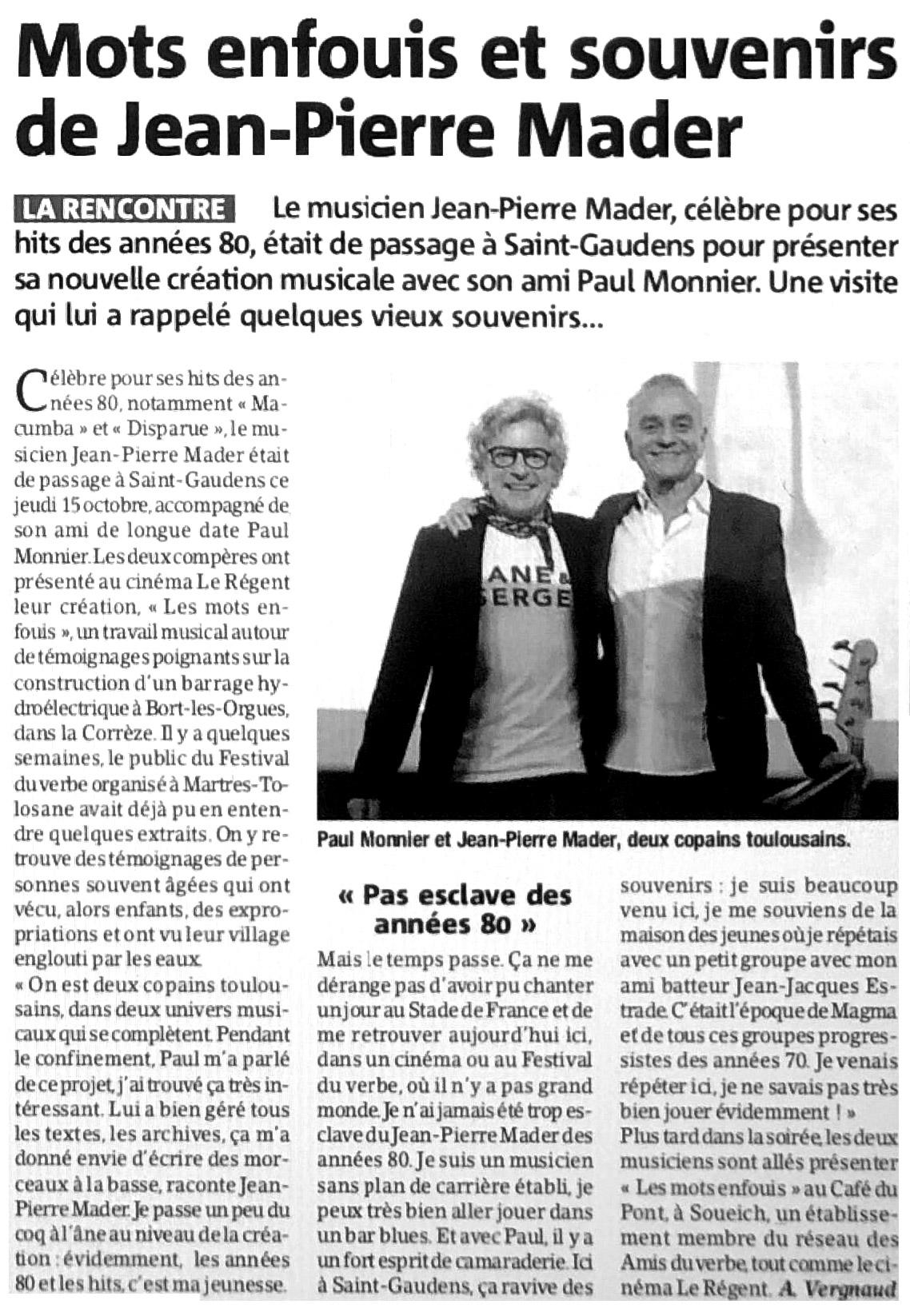 Gazette du Comminges - Les mots enfouis avec Jean-Pierre Mader et Paul Monnier.